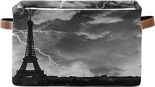 Panier de rangement ALARGE - Vintage - Paris foncé - Tour Eiffel - Panier à linge pliable - Organiseur de jouets - Sac cub...