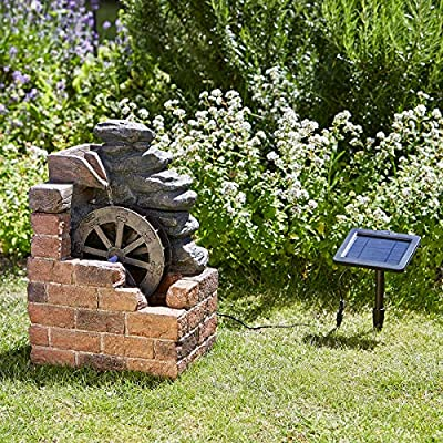 Small Solar Powered Water Feature Mill with Cascading Water PC601