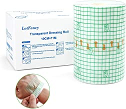 """Transparent Tape, 4""""x 12 Yards, Lotfancy Transparent Film Dressing Waterproof Stretch Adhesive Tape Second Skin Healing Protective Antibacterial Bandages Tattoo Supplies"""