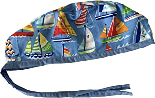 Unisex Mens Tie Back Scrub Cap Surgical Cap Sail Boats Blue