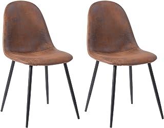 MEUBLES COSY Charlton Suede Brown Ⅲ Juego de 2 sillas de Comedor (ergonómicas, Piel, Patas de Metal), 42.5x54.5x86 cm