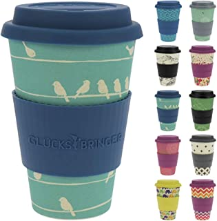 ebos Lucky Charm Coffee Cup with Silicone lid | Made with Organic Natural Bamboo Fibre | Reusable, eco-Friendly | Takeaway Coffee Cup with lid, Travel Mug | Various Designs (Loving Birds Sky)