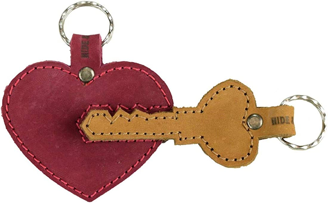 Hide & Drink, Thick Leather Heart Trinket Keychain (2 pieces), Handmade - Multicolor