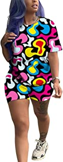 Womens Short Set 2 Piece Outfits - Tie Dye Stripe Rainbow Floral Print T-Shirts + Bodycon Biker Shorts Jumpsuits Rompers