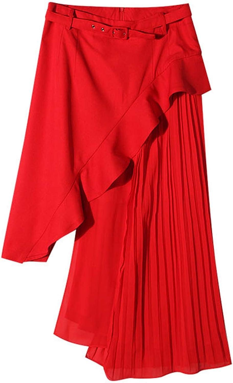 Nieloya High Waist Patchwork Ruffles Pleated Irregular Long Skirts 2018 Summer Fashion Ol