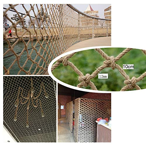 Hemp Rope Decoration Net Safety Net for Stair Railing,Hemp Rope Net,Natural Jute Material,Easy To Install And Easy To Replace,for Home Bar Cafe,12mm/10cm,Multiple Sizes (Size : 2x5m)