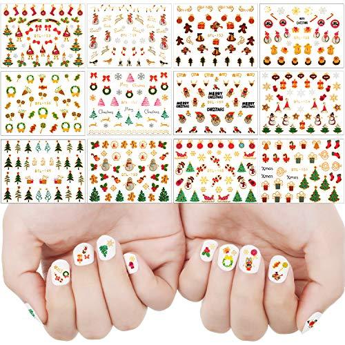 24 Sheets(900 pieces) 3D Christmas Nail Stickers Christmas Self-adhesive Nail Decals Santa Snowman Xmas Tree Stickers for Women Nail DIY Art