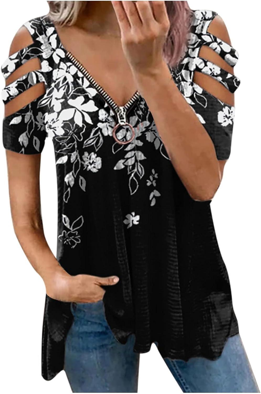 Women Summer Tops Fashion Woman V-Neck Short Sleeve Tops T-Shirt Summer Print Loose Blouse