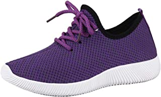 Women's Round-Toe Flat Lace-up Cloth Trainers (Color : Purple, Size : 5 UK)