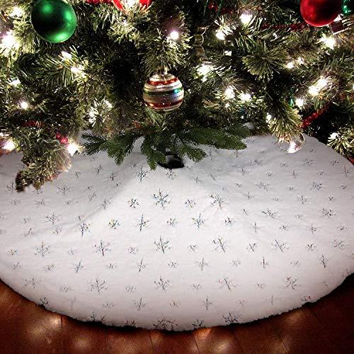 Bianco Gonne per Alberi di Natale Gonna Albero con Ricamo Fiocchi di Neve Natale Decorazioni Albero di Natale Vacanze Gonne Copertura della Base Albero Natale Festa Decorazioni (Colore, 90CM)