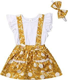 Infant Toddler Baby Girl 2PCs Ruffle Top Shirt Floral Suspender Skirt Bowknot Headband Clothes Outfit Set