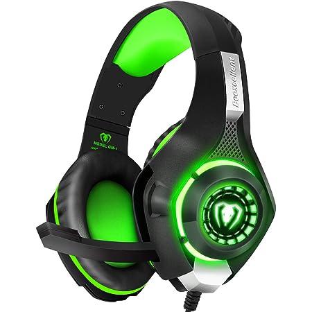 BlueFire Cuffie Gaming per Xbox One, Cuffie da Gioco con 3.5mm Jack LED e Microfono Insonorizzato,Bass Stereo Audio Surround Cuffie da Gaming per PS4/Xbox One S/Nintendo Switch/PC/Laptop(Verde)