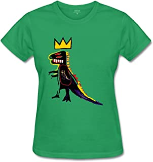 YangCH Women's Basquiat Crown Dinosaur with Baby Cotton T-Shirt