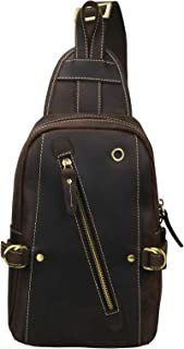 Lannsyne メンズ ボディバッグ ワンショルダーバッグ 本革 レザー 大容量 9.7インチiPad対応 斜め掛けバッグ カジュアル アウトドア 自転車 通勤 鞄 左右肩付け替え