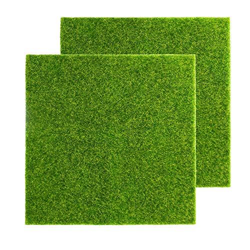YMHPRIDE Kunstrasen Mini Moderner Grasrasen DIY Fairy Garden Puppenhaus Rasen, Synthetischer Garten Rasen für Garten Landschaft Balkon Büro Home Decoration (30cm * 30cm)