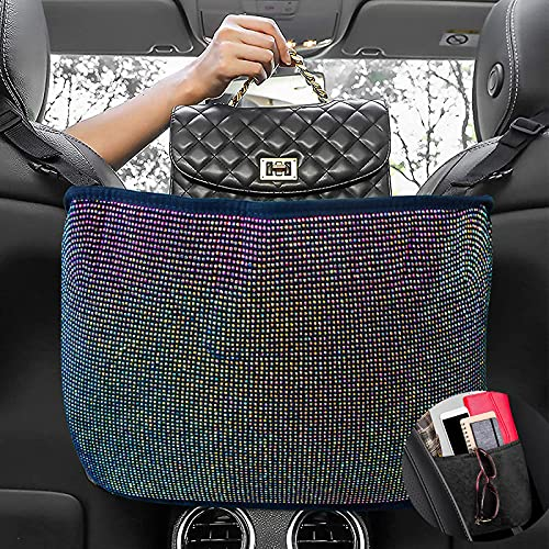 PADNUT Bling Car Handbag Organizer Backseat,Auto Purse Holder Between Seat,Car Purse Holder Storage Pocket Colorful