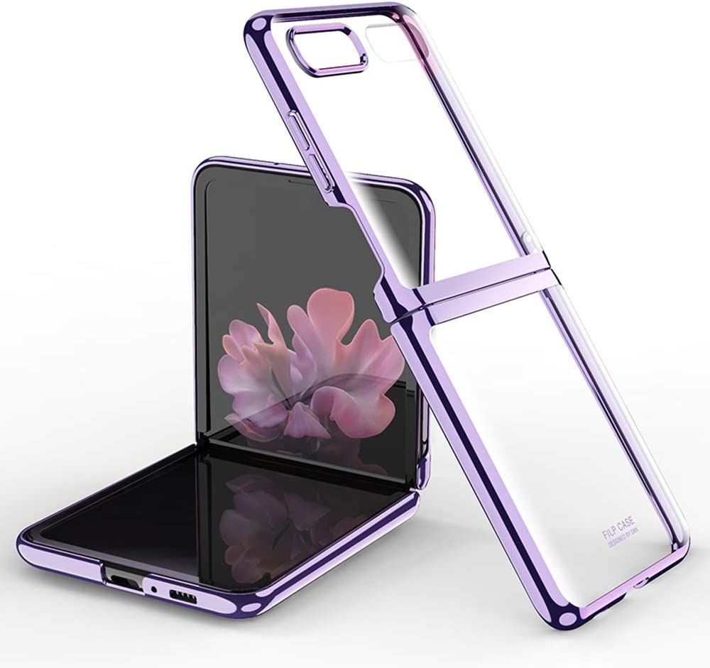 DOOTOO for Samsung Galaxy Z Flip Case Luxury Premium Plastic Plating Crystal Cover Finish Anti-Scratch Shookproof Bumper Full Protection Case for Samsung Galaxy Z Flip 5G (Clear-Purple)