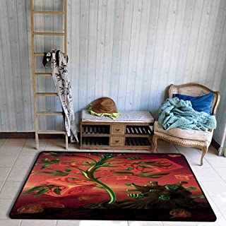 Psychedelic Living Room Rugs Trippy Surreal Picture with Fantasy Cubes and Unsual Plants Visual Motif Dining Room Home Bedroom W59 x L82 Scarlet Green