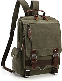 Mochila Hombres Mujer Lona Bolso de Bandolera La Bolsa de Mensajero Bolsa de Lona Bolsa de Hombro Messenger Bag Backpack. (Verde)