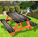 """Angel Bags Industrial Picnic Table & Benches Cover,Grungy Tools on a Wooden Board Manual Manufacturing Repairing in Workshop 72"""" Elastic Edge Fitted Tablecloth Set for Camping,Dining,Brown Grey Red"""