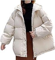 Womens Winter Bomber Coat Trendy Casual Long Sleeve Zipper Button Pockets Warm Lightweight Hooded Jacket Outerwear