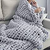 Bizak RD Chunky Knit Blanket – Ultra-Soft Knit Blanket – Warm and Cozy Chenille Blanket – Luxurious Design for Home Décor – Super Snuggly Chunky Blanket – 60 x 80-inch – Beige and Grey