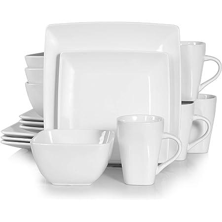 vancasso, Série Soho, Service de Table 16 pièces pour 4 Personnes, Assiette Porcelaine Carrée avec Bol à Céréales et Tasse