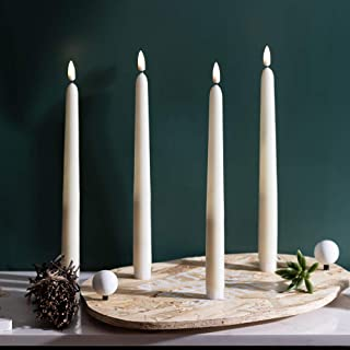 11inch Flameless LED Ivory Taper Candles,Wax .Set of 4