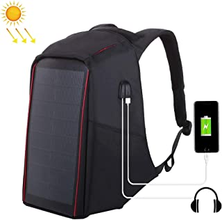 Multi-Functional Backpack, Outdoor Sports Bag, per HAWEEL 12W Flexible Solar Panel Power Backpack Anti-Theft Bag with Handle and 5V / 2.1A Max Dual USB Charging Port (Color : Black)
