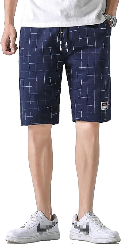 Katenyl Men's Personality Printed Shorts Thin Mid-Waist Comfortable Versatile