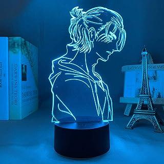 XTBB-Anime Lampe 3D LED Attack On Titan 4 Eren Yeager Figur für Schlafzimmer Dekor Nachtlicht Kinder Geburtstag Geschenk Shingeki No Kyojin-Touch Control