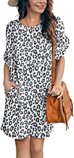 IWOLLENCE Women Waffle Knit Tunic Dress Casual Summer Short Sleeve Loose Dresses Cover Up Beach Dresses with Pocket