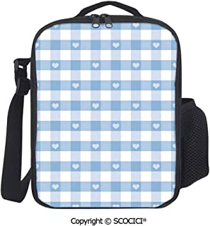 UHOO Gingham Motif with Cute Little Hearts Pastel Blue Baby Shower Kids Theme Insulated Lunch Box with Adjustable Shoulder Strap,Water-Resistant Leakproof Cooler Bag for Work Picnic