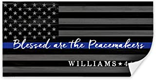 Pretty Perfect Studio Thin Blue Line Flag Wall Decor, Personalized Police Officer Law Enforcement Gift for The Home   Blessed are The Peacemakers Sign   10