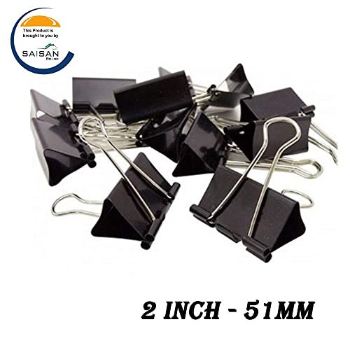 Saisan Binder Clips Large2-Inch (51mm) Paper Holding Capacity Files Organized And Secure 12 Pcs