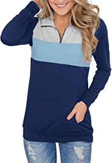 Women Casual Long Sleeve 1/4 Zipper Color Block Sweatshirts Stand Collar Pullover Tunic Tops with Pockets S-XXL