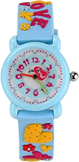 JIAN YA NA Children's Watch Waterproof 3D Cute Cartoon Design Round Dial Silicone Rubber Jelly Color Watch Band Xmas Gifts Quartz Wristwatch for Little Girls Boy Kids Children (Blue(3D Love))