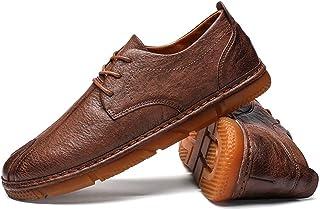 メンズシューズ 靴 男性 レジャー PUレザー カジュアル シンプル 快適 レトロ ノンスリップ シューズ 通気性 (Color : 褐色, サイズ : 26.5 CM)