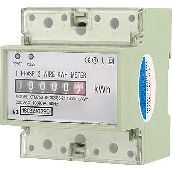 A Compteur électrique monophasé numérique 2 fils 4P DIN-Rail... 40 220V 10