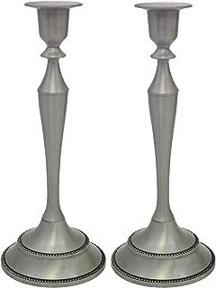Metal Taper Candle Holder,Set of 2,Pewter