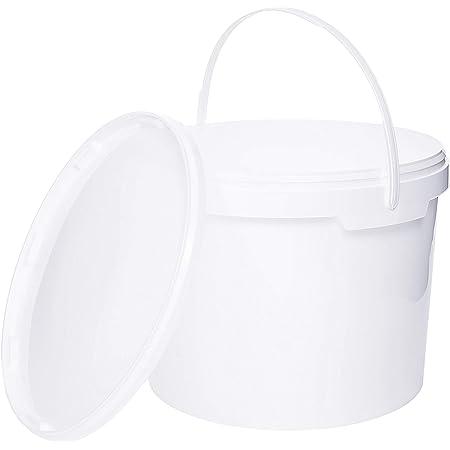 Seau de 10 litres avec couvercle, blanc, empilable, avec kit de partage des aliments, quantité : 20