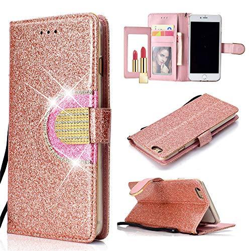 Capa carteira XYX para iPhone 6 Plus/iPhone 6S Plus, [função espelhado][Kickstand][Fivela de diamante][Compartimentos para cartões] Capa carteira protetora de corpo inteiro de couro sintético brilhante com glitter, ouro rosa