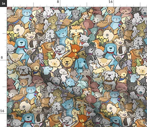 Spoonflower Fabric - Pet Rescue Dogs Cute Animals Cartoon Nursery Cats Adopt Kids Room Printed on Petal Signature Cotton Fabric by The Yard - Sewing Quilting Apparel Crafts Decor
