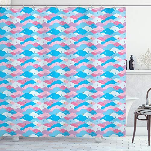 ABAKUHAUS Abstrakt Duschvorhang, Kindisch Stil Regen-Wolken, Leicht zu pflegener Stoff mit 12 Haken Wasserdicht Farbfest Bakterie Resistent, 175x200 cm, Sky Blue Rosa & Flieder