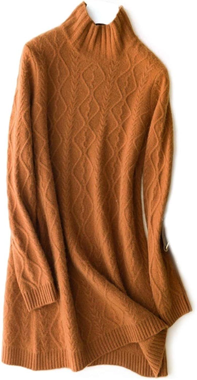 CEFULTY Women's Warm Long Knit Sweater Cashmere High Collar Long Sleeve