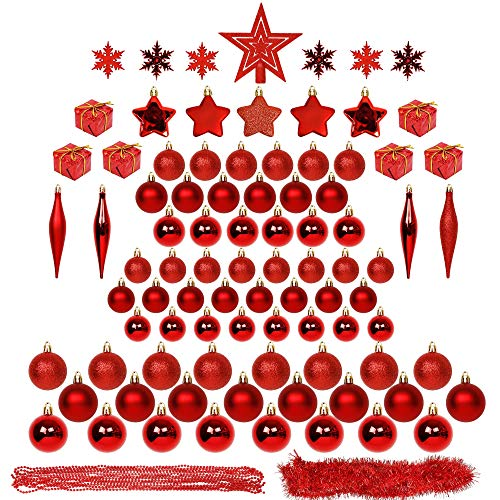 Blissun Christmas Ball Ornaments, 90ct Christmas Ornaments for Christmas Trees, Shatterproof Christmas Decorations Ornaments Set for Xmas Tree Decorations, Xmas Holiday Party Hanging Ball, Red