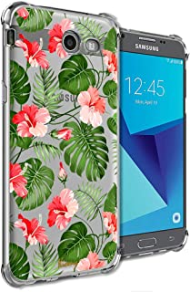 Funda Girly para Samsung Galaxy J7 Perx, J7 Prime, J7 Sky Pro, J7 V, Galaxy J7 2017 transparente con diseño de flores de p...