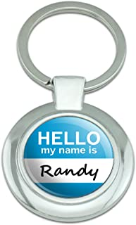 Graphics and More Randy Hello My Name Is Classy Round Chrome Plated Metal Keychain