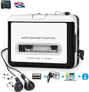 Cassette Player, Portable Walkman Cassette Player from Tapes to MP3 Converter Via USB, Audio Music Player Capture Cassette Recorder with Headphone for Laptop PC and Mac