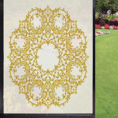 Película de ventana victoriana para ventana de privacidad, para puerta de cristal, casa Ofiice, color crema amarillo 60 x 90 cm